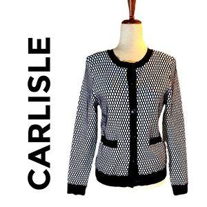 CARLISLE BLACK & WHITE CARDIGAN SWEATER L